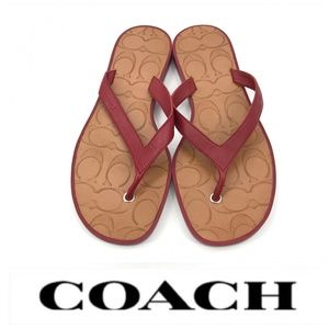 💕SALE💕 Coach Red Leather Sandals